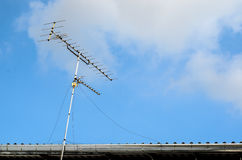 Receiver antenna on  roof in sunlight Stock Image