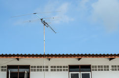 Receiver antenna on roof in sunlight Stock Photography
