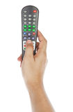 Receiver remote control and hand Royalty Free Stock Photography