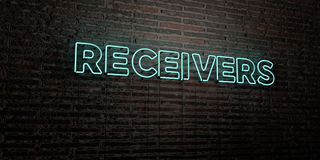 RECEIVERS -Realistic Neon Sign on Brick Wall background - 3D rendered royalty free stock image. Can be used for online banner ads and direct mailers Royalty Free Illustration