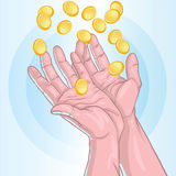 Receiving. Vector illustration of hands receiving gold coins Stock Images