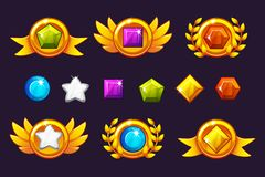 Receiving achievement Awards coin and Gems set, different Awards. For game, user interface, banner, application. Interface, slots, game development. Vector royalty free illustration