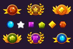 Receiving achievement Awards round Shield and Gems set, different Awards. For game, user interface, banner, application stock illustration