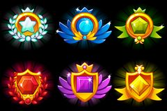 Receiving achievement, vector templates Awards and precious stone. For game, user interface, application, interface. Receiving achievement, vector templates royalty free illustration