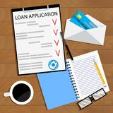 Receiving bank loan concept top view. Loan finance application contaract. Vector illustration Royalty Free Stock Photography