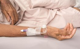 Receiving blood in patients. On bed in a room stock photography