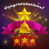 Receiving the cartoon achievement game screen. Vector illustration with golden award. Royalty Free Stock Photo