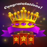 Receiving the cartoon achievement game screen. Vector illustration with golden crown. Stock Photos