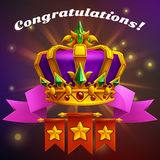 Receiving the cartoon achievement game screen. Vector illustration with golden crown. Stock Photography