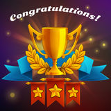 Receiving the cartoon achievement game screen. Vector illustration with golden cup. Stock Photo