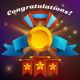 Receiving the cartoon achievement game screen. Vector illustration with golden medal. Stock Images