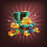 Receiving the cartoon treasure. Vector illustration Royalty Free Stock Photography