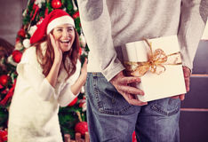 Receiving Christmas gift Royalty Free Stock Photography