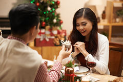Receiving Christmas gift Royalty Free Stock Images