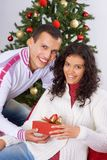 receiving christmas present Stock Photo