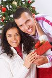 Receiving christmas present Stock Photography