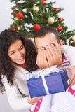 Receiving christmas present Royalty Free Stock Photo