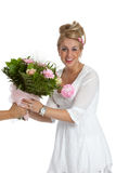 Receiving flowers Stock Photography