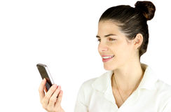 Receiving a funny text Royalty Free Stock Photo