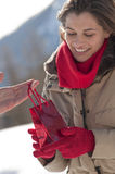 Receiving gift Royalty Free Stock Images