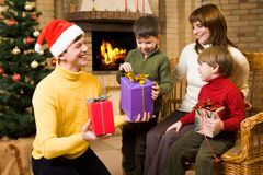 Receiving gifts Royalty Free Stock Photos