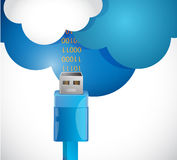Receiving information from the cloud. illustration Stock Image