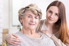 Receiving loving support in elderly age Stock Photo