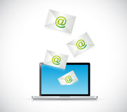 Receiving mail on a laptop. illustration design Stock Image