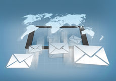 Receiving mail on a tablet Royalty Free Stock Images