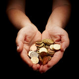 Receiving money. Female hands holding european union coins Royalty Free Stock Photography