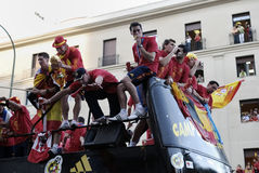 Receiving of National Soccer Team of Spain in the World Cup South Africa 2010. Stock Photo