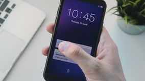 Receiving notifications on the smartphone stock video