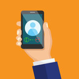 Receiving phone call concept. Dialling, calling on the mobile phone. Hand holding smart phone in modern flat style design royalty free illustration