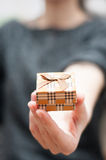 Receiving a present. From a woman in a vintage jewelry box Stock Photos