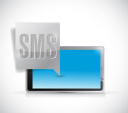 Receiving sms on a tablet computer illustration Royalty Free Stock Image