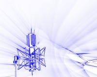 Receiving sound waves. Illustration of microphone receiving sound waves frequencies on white background Vector Illustration