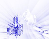 Receiving sound waves with tra. Illustration of microphone receiving sound waves frequencies on white background with yelling man over-compose stock illustration