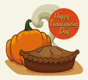 Recent Baked Delicious Thanksgiving Pie, Vector Illustration Stock Images