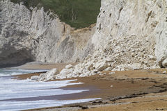 Recent cliff rockfall Durdle Door, Dorset, UK Stock Photography