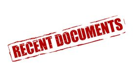Recent documents. Rubber stamp with text recent documents inside, illustration royalty free illustration