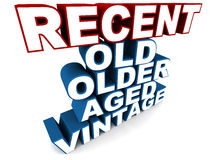 Recent. The most recent item at top with old, older, aged and vintage at the bottom royalty free illustration
