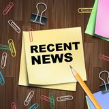 Recent News Shows Latest Newspapers 3d Illustration. Recent News Notepad Shows Latest Newspapers 3d Illustration vector illustration