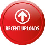 Recent uploads web button. Recent uploads colorful web icon button of vector illustration on isolated white background vector illustration