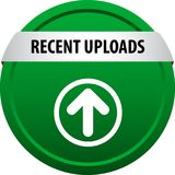 Recent uploads web button. Recent uploads colorful web icon button of vector illustration on isolated white background stock illustration