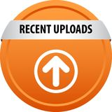 Recent uploads web button. Recent uploads colorful web icon button of vector illustration on isolated white background royalty free illustration