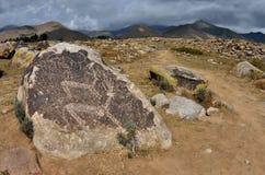 Recente Stenen tijdperkkunst - oude rotstekeningen die deers, archeologische plaats dichtbij Ata Cholpon afschilderen, issyk-Kul  stock foto