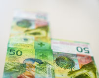 Recentemente 50 contas do franco suíço Imagens de Stock