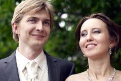 Recentemente sposato nella sosta Fotografie Stock