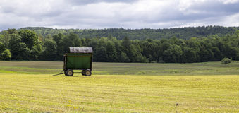 Recently cut hay field stock photography