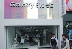 Recently launched Samsnug Galaxy S10 5G. Daegu, South Korea - April 6, 2019: Samsung recently launched the Galaxy S10 5G in South Korea royalty free stock photos
